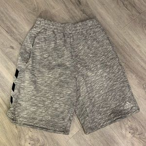 Youth Boy's Gray Adidas Shorts with Black Stripes